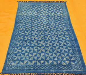 Rajasthani Block Print Traditional Cotton Area Kilim Rug Indigo Blue Kilim Rug