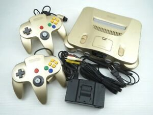NINTENDO 64 gold Game Console N64 with 2 controller Expansio Pack Used F/S