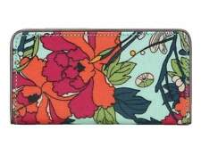 "NWT Sakroots Slim Wallet Seafoam Flower Power Coated New 6.5""x3.5"" SHP IN'TL"