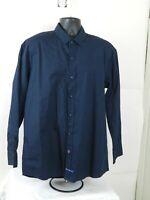 English Laundry Men's XL Polka Dot Button Up Long Sleeve Shirt Blue