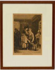 Holzschnitt 19. Jh. Der Haarschneider Friseur Frisör Barbier 41 x 33 cm