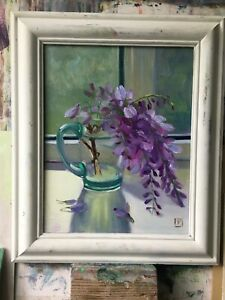 Original Oil Painting Flowers Wisteria   20x25cm  oil painting Unframed
