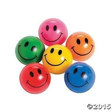 12 Smile Happy Face Bounce Bouncing Balls Kids Birthday Party Favors Toys Games