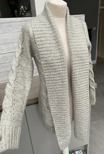 New Look Light Grey Chunky Cable Knit Warm Long Pocket Cardigan Size 12 BNWT