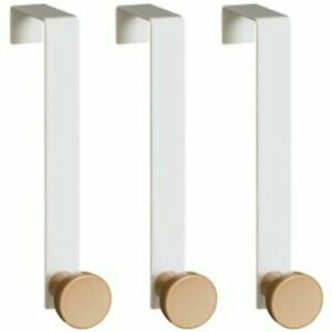 3 PACK OVER THE DOOR ROUND HOOKS WHITE WASH ROOM COAT HANGER CLOTHES TOWEL