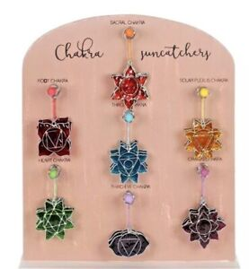 Sun catcher 7 Chakra spiritual sacral third eye hanging Handmade Colour Glass