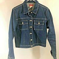 Women's Esprit Blue Denim Button Up Jacket size large cropped