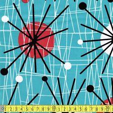 Michael Miller Fabric Atomic Turquoise PER METRE Retro 60s Sputnik Red Vintage C