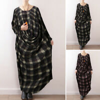 ZANZEA Womens Casual Loose Baggy Check Abaya Kaftan Draped Long Maxi Dress Plus