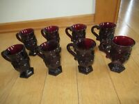 Avon Cape Cod Collection Ruby Red Glass Lot Mug Cups Glasses 8 Vintage (F132)