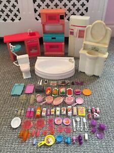 Barbie Vintage Furniture Bundle, So Much To Do Kitchen & Pretty House Bathroom