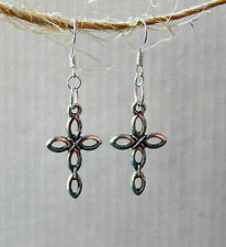 Silver Open Cross Dangle Earrings by Slave Violet Jewelry