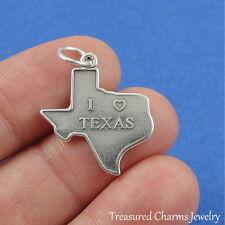 .925 Sterling Silver I HEART TEXAS CHARM Love Texas Texan PENDANT *NEW*