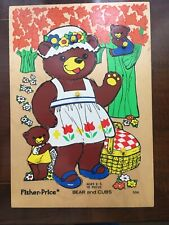Vintage Fisher Price Wooden Puzzle, BEAR & CUBS  # 506 ages 2-5, 10 pieces