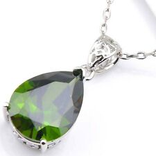 Water Drop Natural Olive Peridot Platinum Plated Necklace Pendant With Chain