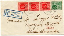 Montserrat - Leeward Islands mixed franking on 1919 registered cover to US