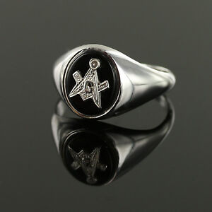 Masonic Ring Solid Silver Onyx Square and Compass With or Without G Hallmarked