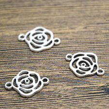 25pcs rose flower Charms Antique Silver hollow rose charm connectors 20x15mm
