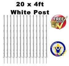 20 X WHITE 4FT POLY POSTS 125cm Tall Electric Fence Fencing Stakes for tape rope