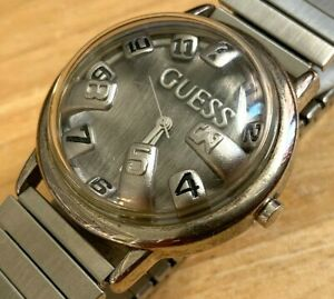 Vintage GUESS Mens Silver Bubble High Dome Analog Quartz Watch Hours~New Battery