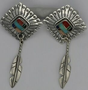 silver Q T multistone  earrings with feathers.7.33 grams.