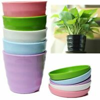 US Round Flower Pot Colorful Plastic Planter Nursery + Tray Home Garden Office