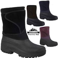 LADIES WOMEN FUR LINED SNOW WINTER GRIP SOLE WIDE MUCKER BOOTS FARM ZIP WELLIES
