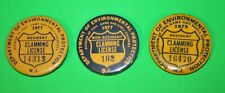 Lot of 3 Vintage New Jersey Clamming License Button Pins 1977 & 1975