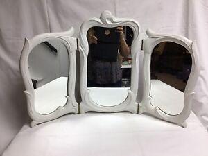 Vintage Tri-Fold White VANITY DRESSER MIRROR Art Nouveau Anthropology-BoHo Look