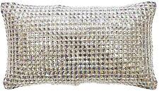 KYLIE MINOGUE SQUARE DIAMOND SILVER DIAMANTE SATIN 18X32CM FILLED CUSHION