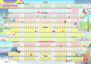 Illustrated Wall Planner - 2021 (A1 Size) Calendar Poster Organiser