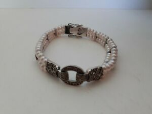 """Sterling Silver 925 Marcasite & Pink Pearl Bracelet w/Safety Clasp, 6.5"""" Stamped"""