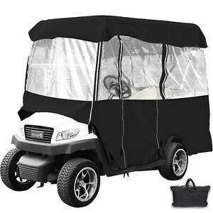 Golf Cart Cover 4 Passenger Driving Enclosure Black Fits EZ GO Club Car Yamaha