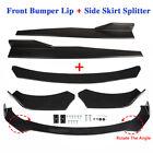 Universal Car Front Bumper Lip Spoiler Diffuser Body Kits + Side Skirt Splitter