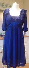 Monsoon Silk Dress Purple/Blue Cocktail Wedding Empire Line Dress UK12