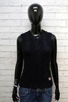 Maglione FILA Donna Taglia 44 Pullover Cardigan Sweater Woman Blu Lana Smanicato