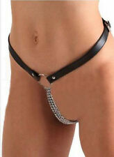 Sexy PU Leather Leatherette Women's T-Back iron chain G-String