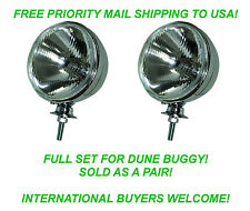 "EMPI 9305 7"" HEADLIGHT X 2 & BUCKET SHELL X 2 DIETZ STYLE VW BAJA DUNE BUGGY BUG"