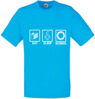 Eat Sleep Science, Portal inspired Men's Printed T-Shirt 100 % Cotton New Tshirt