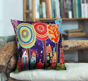 Night Village VELVET PILLOW COVER FOLK ART ABSTRACT PRIM Various sizes Karla G