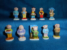 PIG PEOPLE Set of 10 Mini Figurines FRENCH Porcelain Epiphany FEVES Tiny Figures