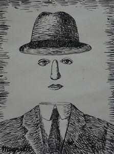 Fine Surrealism art, unique drawing - portrait, signed Rene Magritte, marked