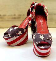 Jeffrey Campbell Size 5 Platform Shoes American Flag High Heels Peep Toe