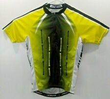 MAKS Bike Wear Mens Large Green Yellow Athletic Cycling Jersey Shirt Pockets