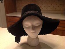 Vintage Ladies Hat Bamberger's Black Plush Felt Fringe Floppy W/ Black Accents