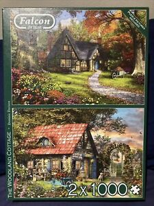 Falcon Deluxe The Woodland Cottage Jigsaw Puzzle (2 x 1000 Pieces) Complete