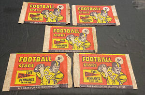 1961 FOOTBALL LOT OF 5 EMPTY NU-CARD NICKEL  5 CENT WRAPPERS