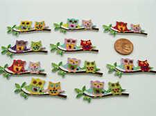 10 boutons Hibou Chouette 40mm bois découpés mix dessins DIY déco scrapbooking