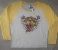 "ED HARDY ""TIGER HEAD"" LONG SLEEVE RAGLAN WOMEN'S TEE BIG & TALL SIZE L NWT"