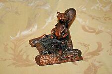 """Unique Vintage Copper Washed Cast Iron 5x5x4"""" Squirrel Ashtray c. 1920"""